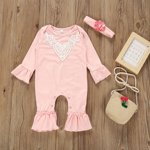 2019 Autumn Baby Girls Rompers Flare Long Sleeve Lace Patchwork Climb Clothes Child Toddlers Babies Rompers 15130