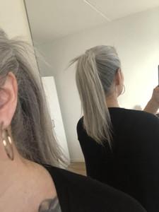Резинка европейская реми серая прическа с хвостиком шелковистая прямая двухцветная омбре серебристо-серая соль для волос наращивание волос с хвостиком