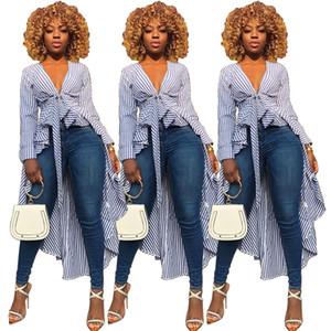 Moda Streetwear Gömlek Elbise Kadınlar Uzun Kollu V yaka Tunik Çizgili Tuxedo Gömlek İnce Ön Kısa Geri Yüksek Bel Uzun Gömlek Dresses