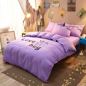 Yaapeet Literie Bed Skirt + housse de couette + Taie d'impression couleur pourpre Thicken bande élastique Couvre-lit Reine King Size