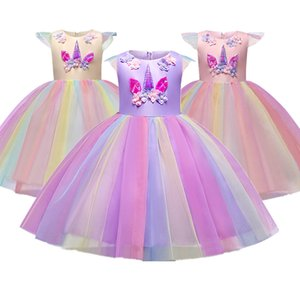 Unicorn Gown Girls Dress Summer Formal Performance Princess Party Sleeveless Dress For Evening Party Halloween Costumes 4-10Y