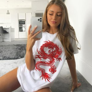 Ebaihui New Vintage Harajuku Cool Dark Summer Tees Chinese DragonPrint T-shirt Female Short Sleeve Tops Hip-hop Bf Punk Big Size Tees 8928