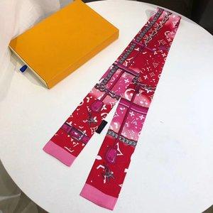 Luxury designer scarf feminine slim narrow bag handle silk scarf double silk printed twill satin brand small ribbon