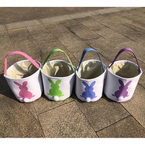 DIY Easter Basket Bucket Холст ручной Фаршированная Кролик хвост Пасхальный заяц Корзина Холст Пасха подарков конфеты Barrel Переносные корзины A122106