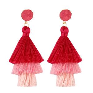 Orecchini a forma di nappa lunga 3 strati con nappe lunghe a più strati blu rosso giallo tessuto di seta lungo orecchino a goccia per le donne gioielli dichiarazione di nozze