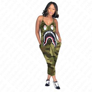 Женщины дизайнер Комбинезон без рукавов Rompers Camo акулы Подтяжки Длинные брюки Halum Комбинезоны Summer One Piece Брюки Общий Пляжная D52705