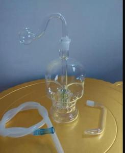 pipa de agua de vidrio bongs hueso accesorios, colorido pipa de fumar Tubos de vidrio curvo quemador de aceite Tubos Tubos de agua Dab aparejo de cristal Bongs de tuberías