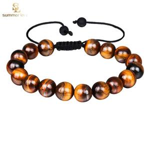 Chegada Nova Tiger Eye Pulseira para as Mulheres Homens ajustável Tamanho 10 milímetros presente da jóia Lava Pedra grânulos pretos pulseira trançada
