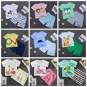 Kids Designer Clothes Boys Cartoon Shirts Short Pants 2pcs Set Short Sleeve Toddler Girl Outfits Summer Kids Clothing 15 Designs DHW3594