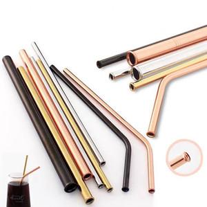 Aço inoxidável reutilizável beber palhetas coloridas à prova de riscos de Metal Straw Kitche Partido Barware Bar Acessórios DDA75