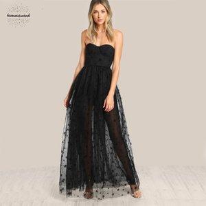 Schwarz Bustier Partei-Kleid-Stern-Flock netten Frauen-Mesh-Overlay Maxi Sommerkleid Strapless Cut Sexy Kleid mit