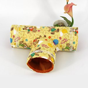 1pc 3Holes Pet Small Animal Toys House Pet Tunnel Channel Cat Play Tent Nest Hamster Rabbit Kennel Sleeping Cave Bed Toys