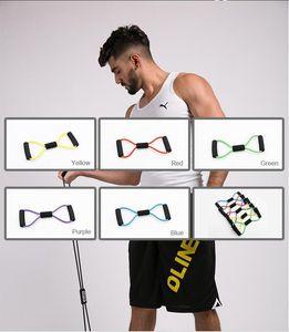 US-Aktien 1pc 8 geformte elastische Spannung Durable Rope-Kasten-Expander Sport Fitness Yoga Pilates-Gurt-Körper-Form zufällige Farbe Krankenpflege Neue