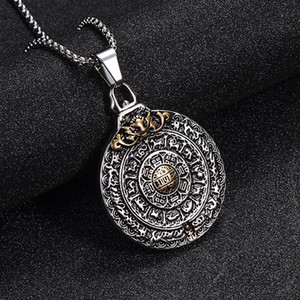 Stainless Steel God of Zodiac Guard Pendant Necklace Yin and Yang Taichi Necklaces Jewelry For Men