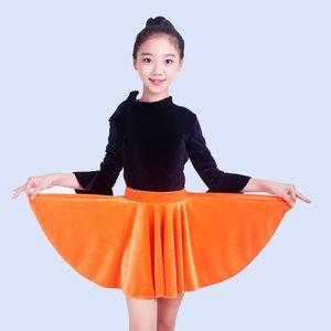 Латинский танец костюм девушки с длинным рукавом Одежда Practice Latin конкурс Платья Rumba / Tango / Samba Performance Wear DQL1324