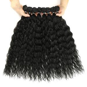 Bundle dei capelli dell onda dell'onda riccia di alta qualità con i capelli sintetici di chiusura dei capelli sintetici Ombre Blonde Argento Grey Capelli 9pcs / Pack Fibra 20 pollici