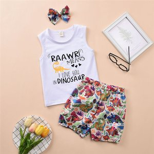 Summer Newborn Baby Boy Girl Clothes Sleeveless Letter Print Tops Dinosaur Print Shorts Headband 3Pcs Outfits Sunsuit Set