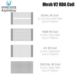 Vandy vape Mesh V2 RDA bobina doppia M / M Ni80 / A1 M / SS316L bobina 0.12ohm per Vandyvape Mesh V2 RDA Serbatoio autentica