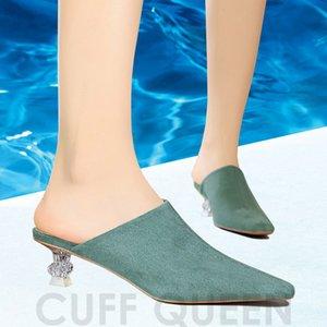 Goddess2019 Milan Women Shoes Conciso En Boca Baotou Cristal Transparente Con Cuadrado Pequeño Cómodo Zapatilla Mujer