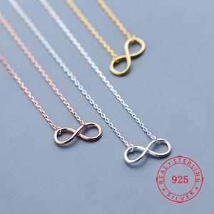 alta calidad de la plata esterlina 925 sin fin para siempre collar del signo de amor sim infinito chapado en oro rosa de joyas de regalo de San Valentín