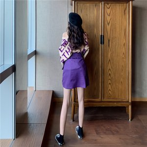 2 Pieces Clothing Set Women's Purple Letters Loose Knitted Sweaters And Plaid Mini Skirts With Sashes Party Skirt suit NS676