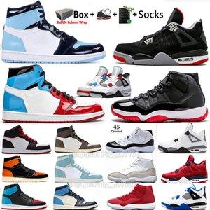 Nueva Bred 11 11s Concord WMNS metálico Gato Negro Plata 4 4s lo que los zapatos de baloncesto de los hombres 1 1s Sin Miedo UNC Deportes de diseño zapatilla de deporte de Formadores