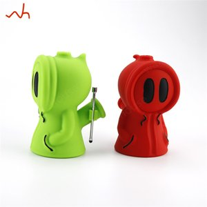 Glass Water Pipes with 14mm male glass bowl and 56mm dabber spoon Silicone Smoking Bongs Ghost Recycler Oil Rig Cool Dab Rig