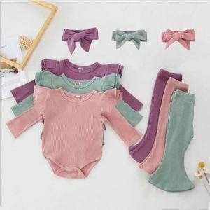 Vêtements bébé fille tout-petits pantalons solides Romper Flare bandeau Sets coton à manches longues filles Tenues Boutique Vêtements bébé LSK645