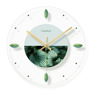 Creativo Nordic Plant Flowers Orologio da parete Fashion Glass Clocks Home Office Decorazioni scolastiche Regali divertenti Dropshipping