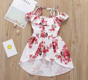Toddler Girl Dresses Suspender Flower Girls Dress Ruffle Collar Children Dress Baby Sundress Summer Kids Clothing 3 Colors Optional DW5174