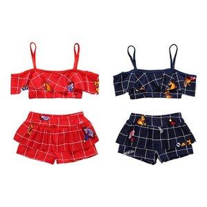 Summer Kids Girls Split Sunsuit Swimwear Baby Bikini Set Beach Two-Piece Bathing Suit Photography Clothes Children Sets 1-4TY