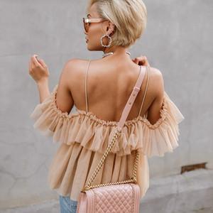 Bayanlar Yaz Bluz Kayış Ruffles Bluz Kadınlar Gömlek V Yaka Off Shoulder Tops Streetwear Seksi Peplum 2019 Yeni blusas Tops