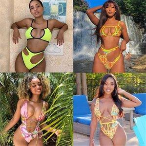 Womens Bikini Sexy oco Out Moda Mosaic e Floral Impresso Low Cut Mulheres Swimsuits verão Designer Beachwear