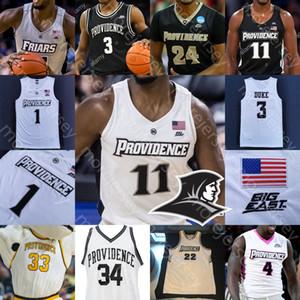مخصص بروفيدانس الرهبان كرة السلة جيرسي NCAA كلية ألفا ديالو ديفيد ديوك Maliek الأبيض Luwane Pipkins هولت نيت واتسون ريفز الشباب