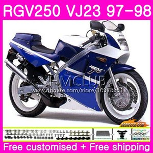 Bodys For SUZUKI SAPC RGV-250 VJ22 VJ21 RGV 250 97 98 99 Frame 19HM.55 RVG250 VJ23 RGV250 VJ 21 22 23 1997 1998 1999 Fairing Hot Blue white