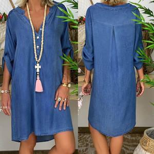 2019 Blue Jeans Denim Femme Automne T-shirt manches longues Casual vrac Chemise Mini robe