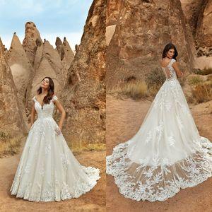 Eddy K 2021 Wedding Dresses Sexy V Neck Button Back Beach A-Line Bridal Gowns Custom Made Lace Appliques Sweep Train Wedding Dress