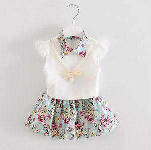 Summer Children Necklace Set di abbigliamento Kids Girl Cute T-shirt Skirt 2Pcs / Sets Fashion Baby Floral Abiti infantili Outfit casual
