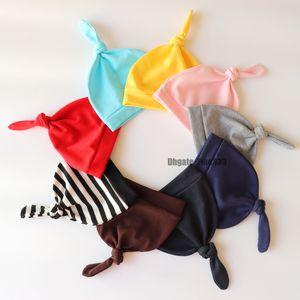 2019 Baby Hat 0-1T 16 colores Algodón Recién nacido Nudo de bebé Gorros Niñas Gorras de sueño Ángulo Cap