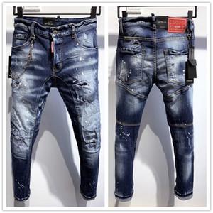 джинсы налить Hommes 2020 Новый Стиль Марка D Мужская Denim Jean Вышивка Тайгер Брюки Отверстия D2 Jeans Zipper Мужчины Брюки байкерские джинсы
