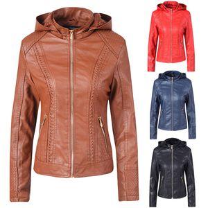 Feitong Faux Jaqueta De Couro Mulheres Hoodies Inverno Outono Casaco De Motocicleta Preto Outerwear Faux Leather PU Revestido 8m3