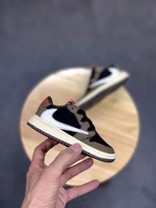 calçados infantis Travis Scotts 1 Baixa sapatilha Bred Crianças roxas sapatos Chaussures lento infantil Cut Sneakers Pine Green I sapatilhas