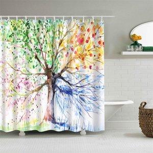 Green Woods Shower Curtain Alberi doccia Piante Animali Tema separata prova di calore Bagno Docce Tende Tessili Casa 32tz ff