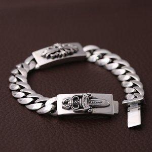 Nouveau 925 Sterling Argent Vintage Bijoux Vintage American Europe Designer à la main Antique Silver Chaîne Bracelets Croix Sword pour Hommes