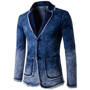 New Spring Autumn Blazer Men Cotton Denim Smart Casual Giacca uomo Slim Fit adatta all'abbigliamento