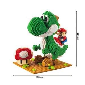 Bloques de Construcción modelo Mario Bros Yoshi de la serie de dibujos animados juguetes de anime Figuras ensambladas Mini ladrillo juguetes educativos para los niños S200112