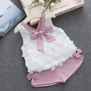 Biobella Mädchen Set Sommer Kinder Kleidung Sets Weiß Chiffon Dekor Ärmellose Tops + Kurze Hosen 2pcs Kleidung Set für Mädchen