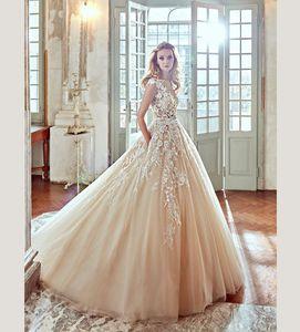 Шампанское линия Weddng платья Jewel кружева аппликация бусины пояс развертки поезд свадебные платья пляж плюс размер свадебное платье robe de mariée