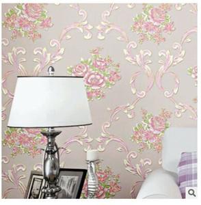 Self-adhesive non-woven wallpaper 3D stereoscopic girl heart rural romantic bedroom living room bedside background wallpaper