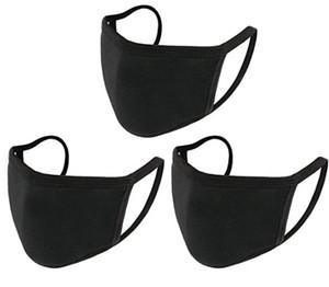 NOUVEAU réutilisable coton lavable visage masque anti-poussière adulte unisexe de protection Visage Couverture noir blanc uni